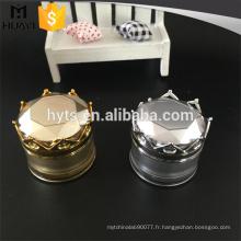 Bouteille acrylique de 20g de forme ronde or et argent acrylique avec le chapeau de couronne