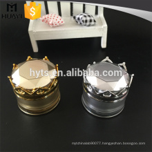 20g round shape gold and silver cosmetic acrylic jar with crown cap