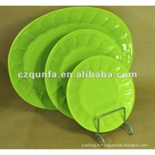 Assiette en céramique ovale vert pour hôtel