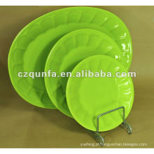 Placa cerâmica oval verde do hotel home