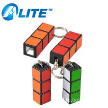 Plastic MINI Customized LOGO 1 LED Magic Cube Keychain Light For Gift