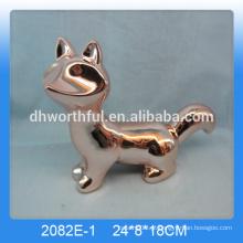 Decoração dourada personalizada da casa da raposa, decoração da raposa dourada, figurine de raposa cerâmica