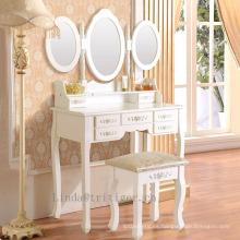 Juego de mesa y taburete de tocador de tocador de 3 espejos, 3 piezas, en madera, con 7 cajones