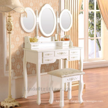 White 3-Piece Wood Make Up 3 Mirror Vanity Dresser Table and Stool Set with 7 Drawers