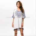 2017 лето женщины платье o-образным вырезом Sexy sheer пляж платье синий и белый фарфор тотем печать