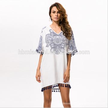 2017 Summer Dress Women O-Neck Sexy Sheer Beach Dress Blue and white porcelain totem printing