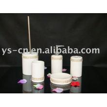 5pcs weißes luxuriöses zylindrisches keramisches Acryldiamantbadezimmer-Bad-Satz