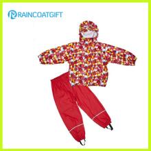 Allover Druck PU Kinder Regenbekleidung Rpu-008