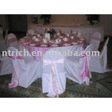 housses de chaises polyester 100 %, housses de chaises de banquet/hôtel/mariage, ceinture en satin
