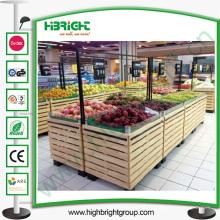 Support en bois de légumes et de fruits de supermarché