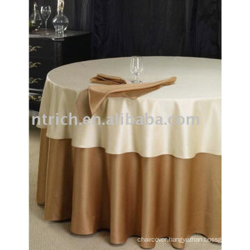 100%polyester tablecloth and overlay,Hotel table cover