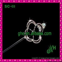 Vente en gros à la mode Nouveau design strass King sceptre