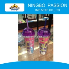 Double Wall Plastic Tumbler with Straw with Printed PVC Sheet