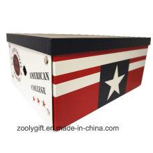 Caja de almacenamiento plegable de papel de impresión multiusos de la colección americana con el botón del metal y el agujero del dedo