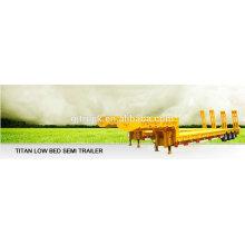 Camiones y remolques del remolque del camión del excavador bajo de la cama baja del remolque plano resistente de 30-80 toneladas