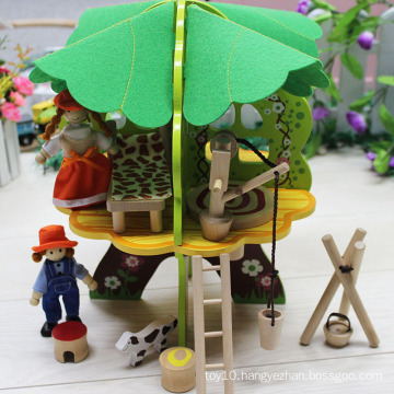 Children DIY Wooden Tree Toy Doll House with furniture