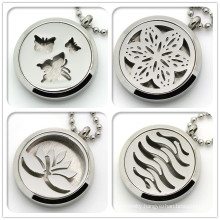 Newest Silver Round Magnetic Hollow Locket Diffuser Necklace
