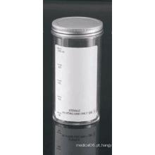 Recipientes de amostra de 250 ml com tampão de metal e rótulo simples