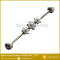 316L Surgical Steel Cubic Zirconia Prong Set Triple Flower Industrial Barbell Earring 38mm