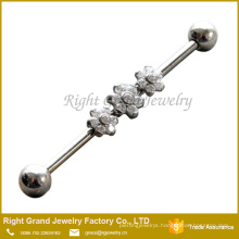 316L Surgical Steel Cubic Zirconia Prong Set Triple Flower Industrial Barbell Earring 38mm