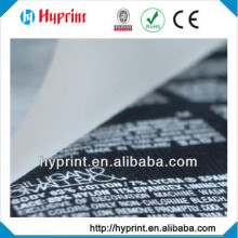 2015 high quality Customization Tagless Heat Transfer label