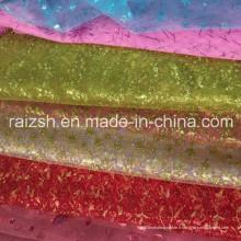 Tissu de gaz de mariage, tissu de glitter de protection de l'environnement de haute qualité