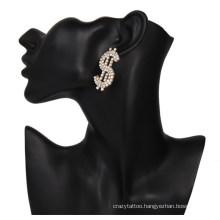 White Rhinestone Bling Bling Hip Hop Party Men Women Dollar Sign Earring Stud Jewelry