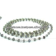 Atacado Silver Smoky Quartz Rondelle Faceted Beaded Chain, Gemstone Bezel Jewelry