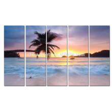 Nascer do sol na arte da impressão da lona do mar / lona da praia da palmeira do verão / cartaz da praia para a sala de visitas