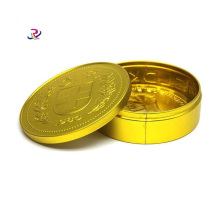 Gold Small Snus Coin Round Tin Box