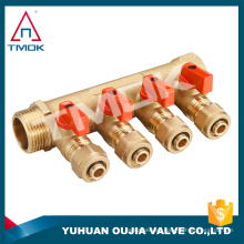 "TMOK Colector de latón de 3/4 ""a 1/2"" con válvulas de bola - 4 puertos"