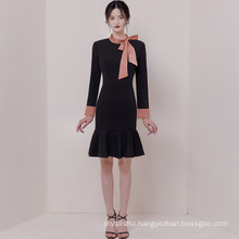 Dress 2020 spring autumn new ladies' OL professional elegant high-end bow was thin fishtail dress package hip skirt