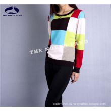 Кашемир экипажа шеи пуловер с проверкой Intersia