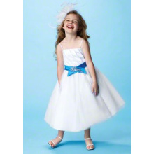 Ball kjole Spaghetti Straps Tea-længde Satin Tulle Flower Girl Dress