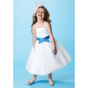 Kulkjole Spaghetti Straps Tea-Length Satin Tulle Flower Girl Dress
