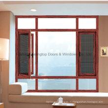 Fenêtre en aluminium de vente chaude avec le double verre trempé (FT-W135)