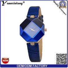 Yxl-156 2016 New Design Stainless Steel Jewelry Ladies Bracelet Wrist Watch Geometry Blue Leather Strap Women Dress Watches