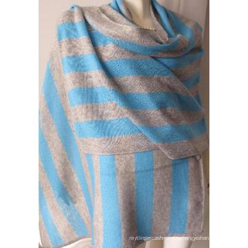 30% Кашемир 70% Шерстяная полосатая шаль Warp