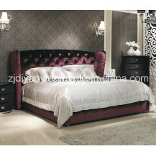 Pós-moderno estilo couro tecido Crystal botão cama de casal (LS-410)