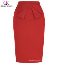Grace Karin Mujer Alta Estiramiento Hips-Wrapped Vintage Retro Red Pencil Skirt CL010454-2