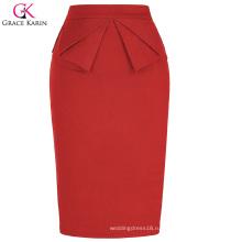 Высокое Грейс Карин женщин эластичный бедра-завернутый старинные Ретро Красный карандаш юбка CL010454-2