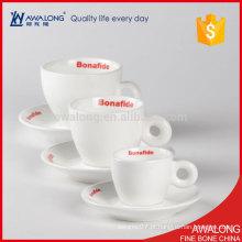 Durável china planície branca café cerâmico xícara e saucers personalizado