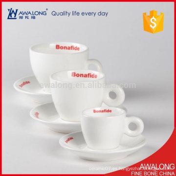China duradera llanura blanca taza de café de cerámica y platillos personalizados