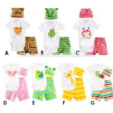 2017 été mignon bébé infantile barboteuse coloré polka dots bébé saut costume 100% coton manches courtes bébé vêtements ensemble barboteuse