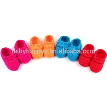 Hot selling baby purple handmade crochet wool girls shoes