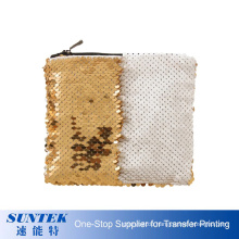 Sublimation Zipper Portable Fashion Makeup Pouch Personality Sequins Cosmetic Bag with Lining