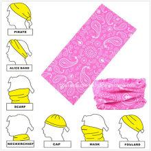 Nahtloser Stil Rosa Paisley Printed Custom Buff Kopftuch Hals Tubular Bandana