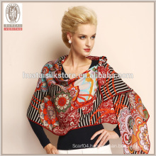 Bright flower and stripe design %100 wool printed wide shawl