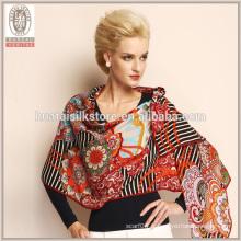 Design fleur et rayure brillant% 100 châle imprimé en laine large