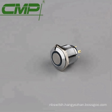 16mm anodized aluminum black press button led switch 12v ip67